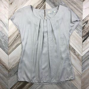 Boden Ravello Silk Blend Blouse Pale Grey Size 2
